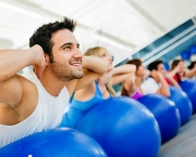 Group of people exercising at the gym in a fitness class